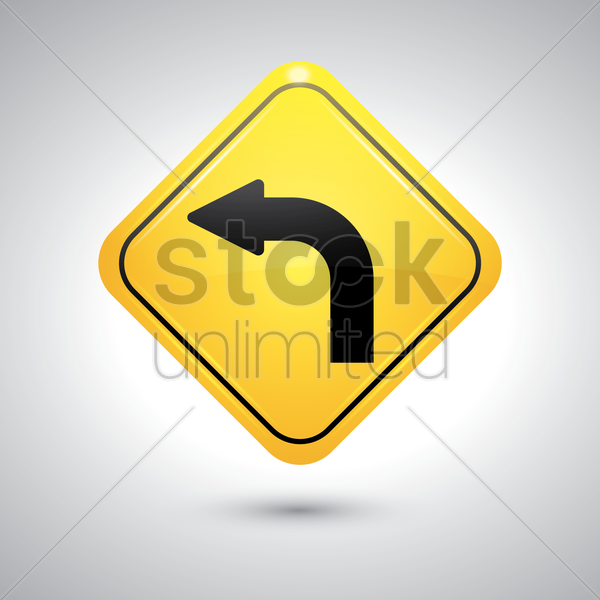 left turn sign vector graphic