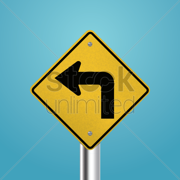 left turn signboard vector graphic