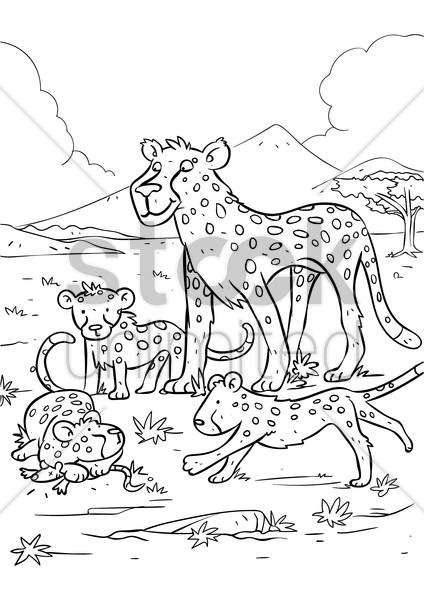 leopard with leopard cubs vector graphic