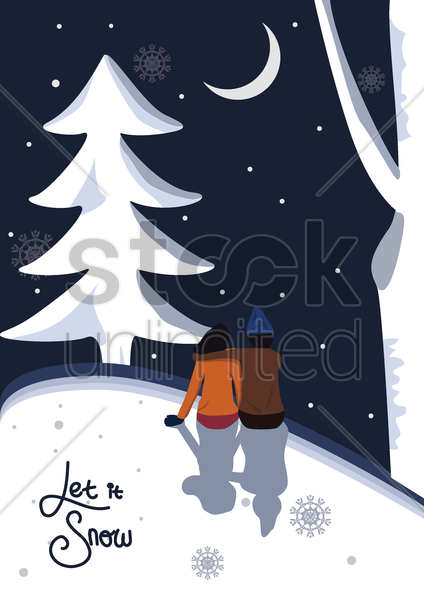 let it snow poster vector graphic