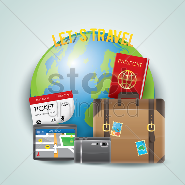 let's travel vector graphic