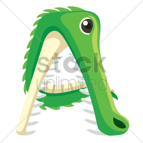letter a for alligator vector graphic
