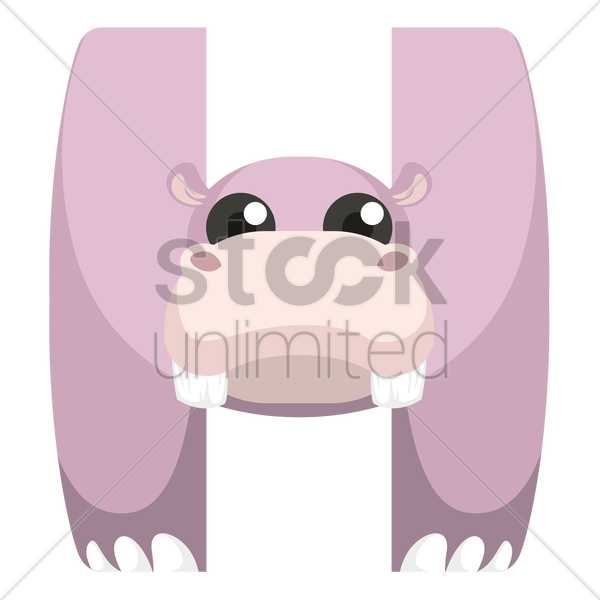 Free letter h for hippopotamus vector graphic