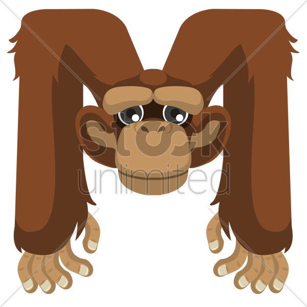 letter m for monkey vector graphic