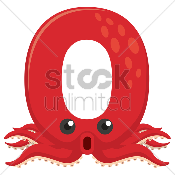 Free letter o for octopus vector graphic