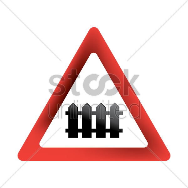 level crossing with barrier sign vector graphic