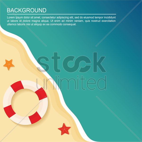 lifebuoy on beach background vector graphic