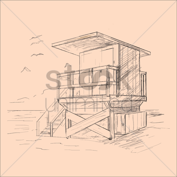 lifeguard house vector graphic
