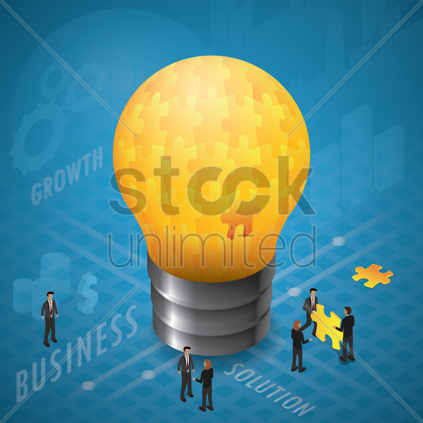 light bulb with jigsaw puzzles vector graphic