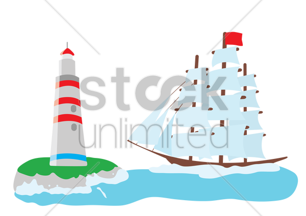 lighthouse and a ship vector graphic
