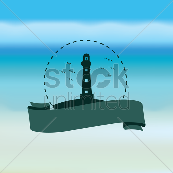 lighthouse and banner vector graphic