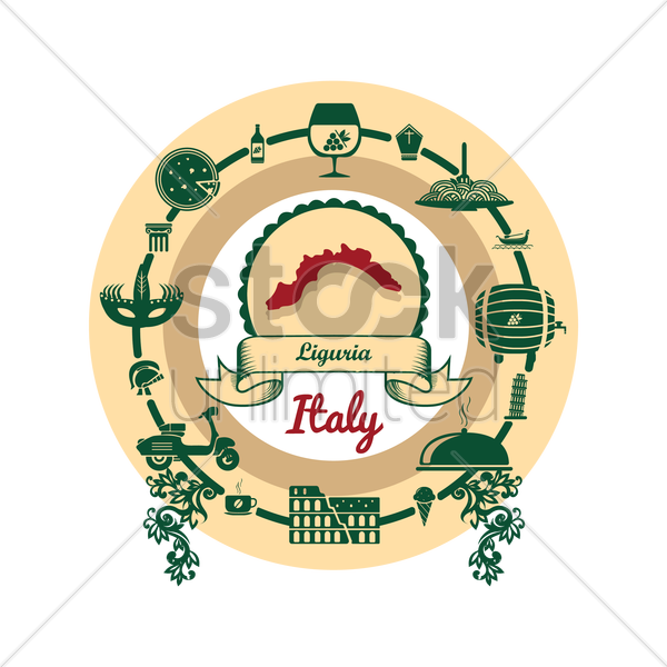 liguria map label vector graphic