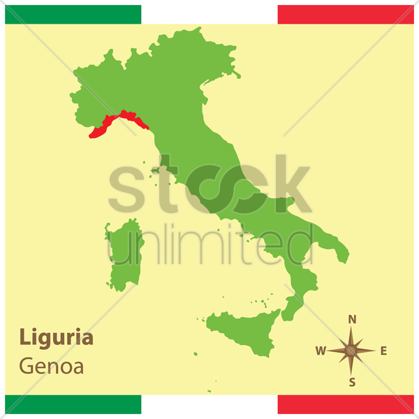 liguria on italy map vector graphic