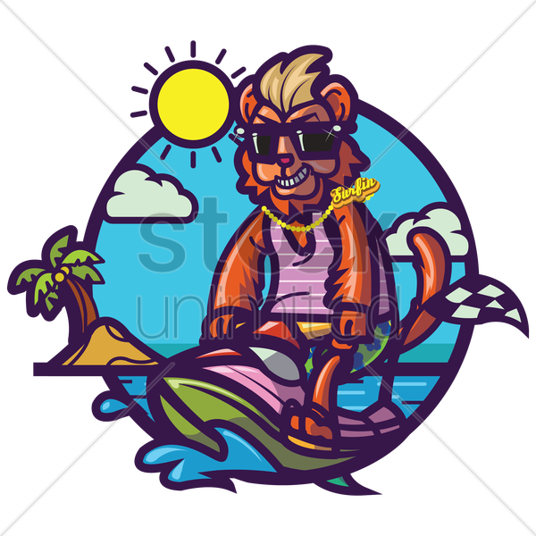 lion chilling at beach vector graphic