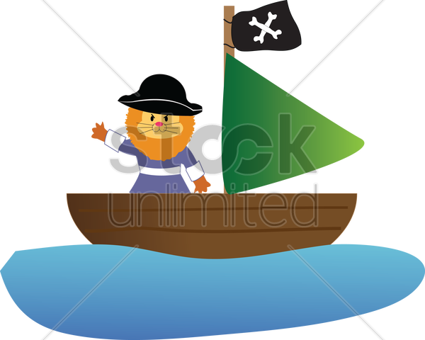 Free lion in a pirate costume vector graphic