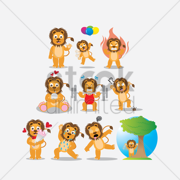 lion with different actions vector graphic