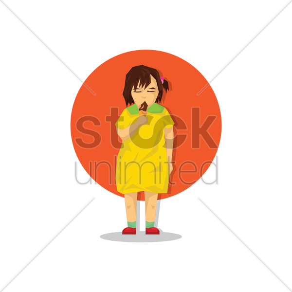 little girl eating an ice cream vector graphic