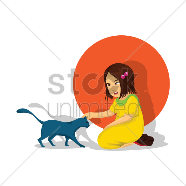 little girl with a cat vector graphic