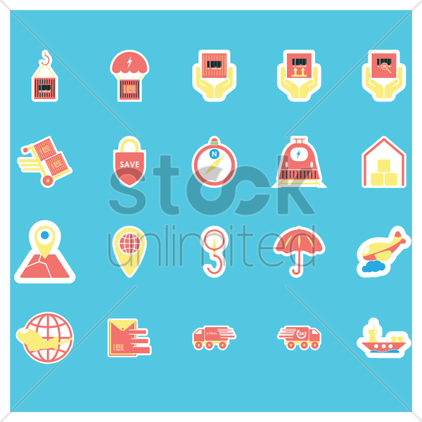 logistic and delivery icons vector graphic