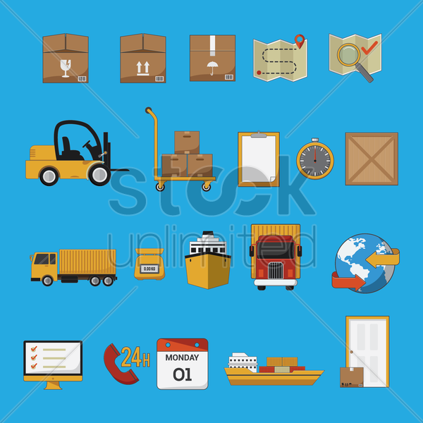 logistic and transportation collection vector graphic