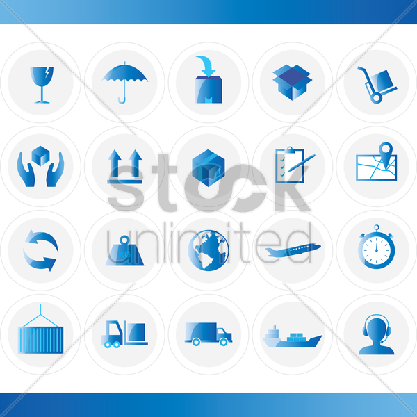 Free logistic icon set vector graphic