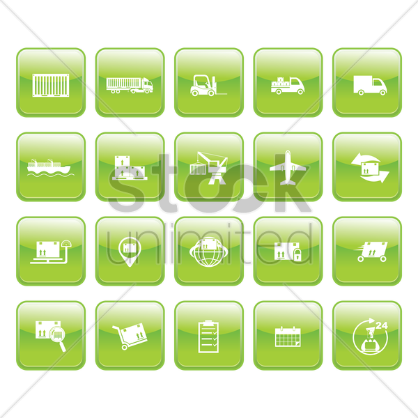 logistic icon set vector graphic