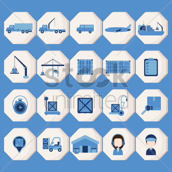 logistic item collection vector graphic