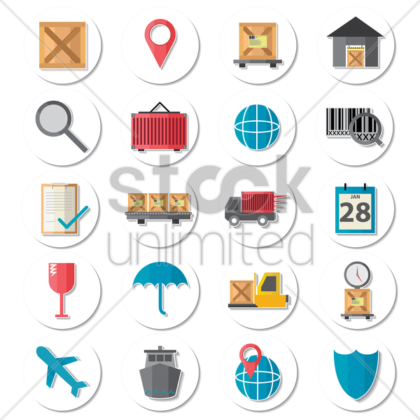 Free logistic items collection vector graphic