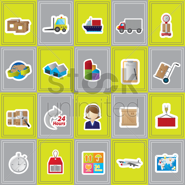 logistic set vector graphic