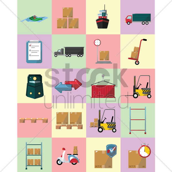 logistics icons vector graphic