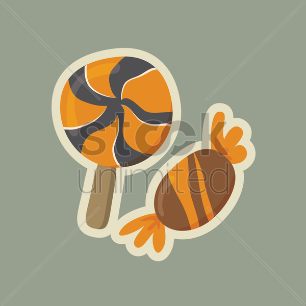 lollipop and candy vector graphic
