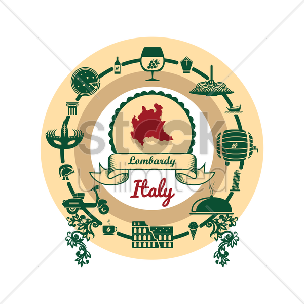 lombardy map label vector graphic