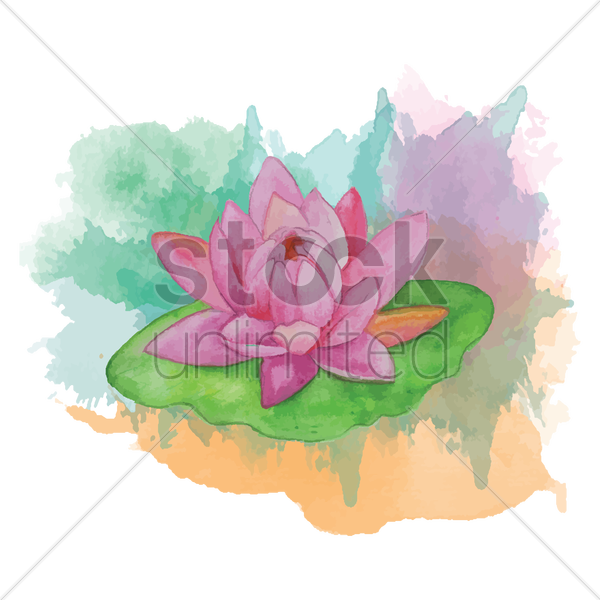 lotus flower with leaf vector graphic