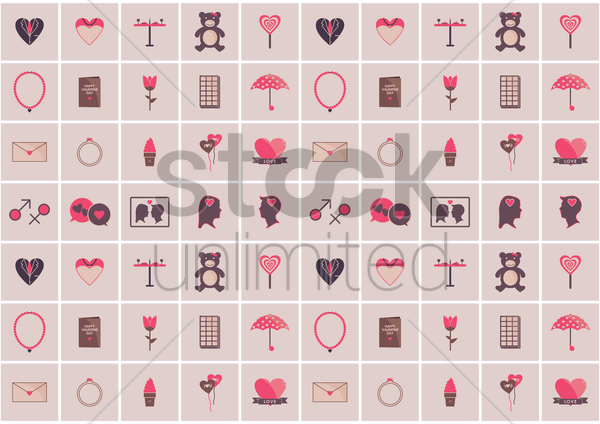 love pattern background vector graphic