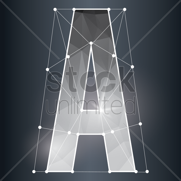 low poly alphabet a vector graphic
