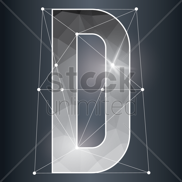 low poly alphabet d vector graphic
