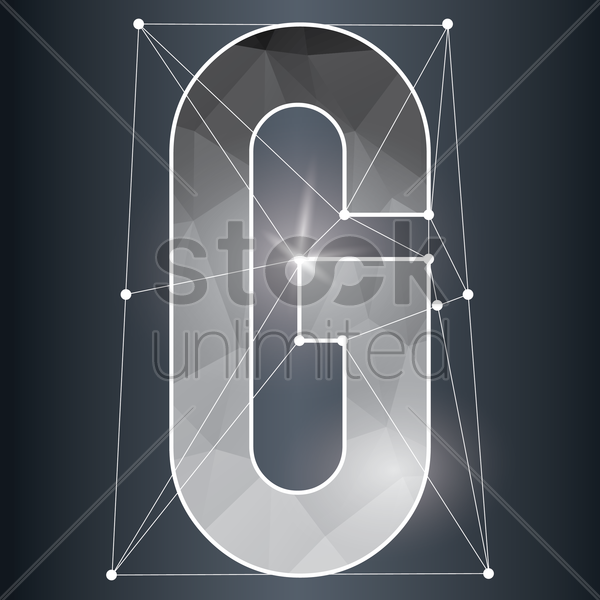 low poly alphabet g vector graphic