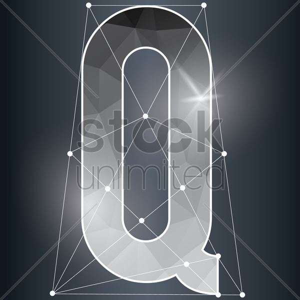 low poly alphabet q vector graphic