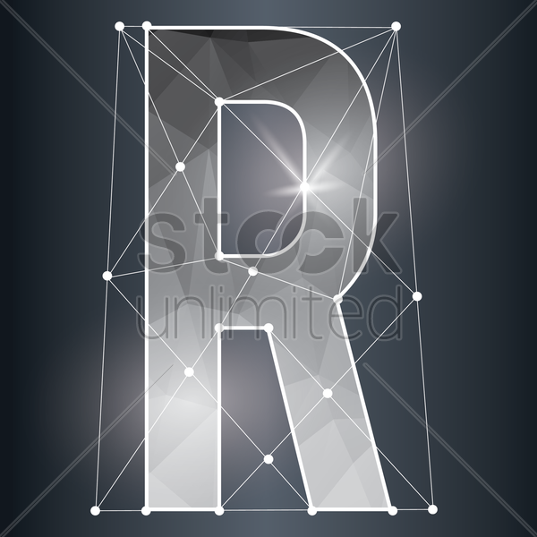 low poly alphabet r vector graphic