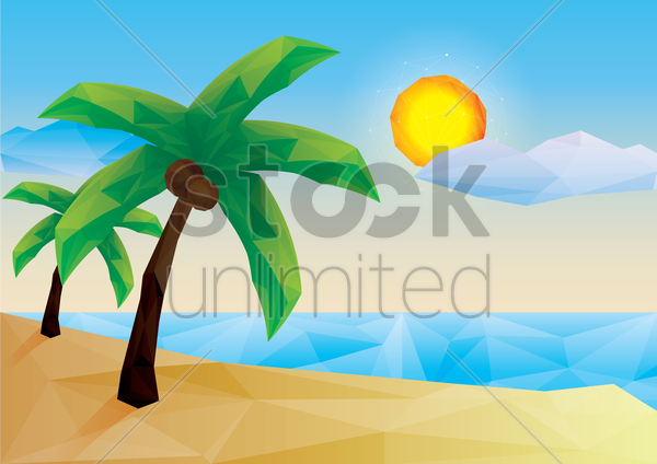 low poly beach vector graphic