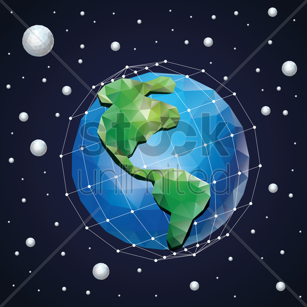 low poly globe vector graphic