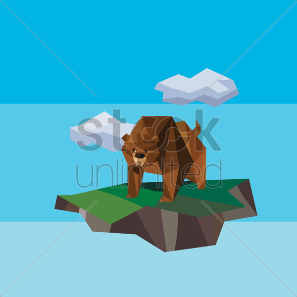 low poly of bear on mountain vector graphic