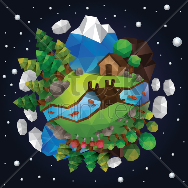 low poly of countryside vector graphic