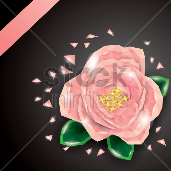 Free low poly rose flower vector graphic