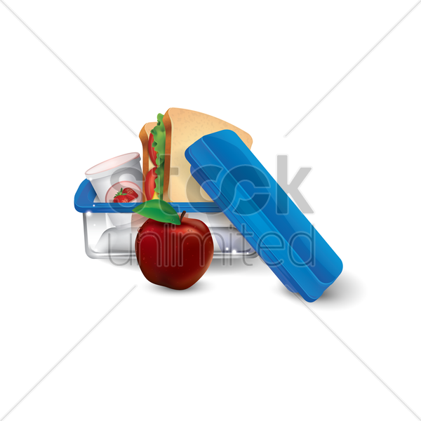 lunchbox with sandwich and apple vector graphic