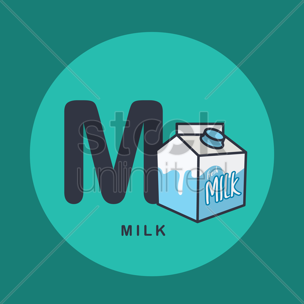 m for milk. vector graphic