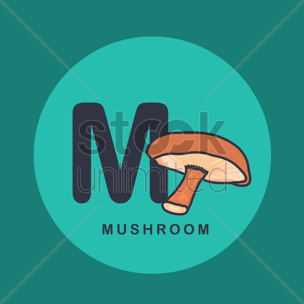 Free m for mushroom. vector graphic