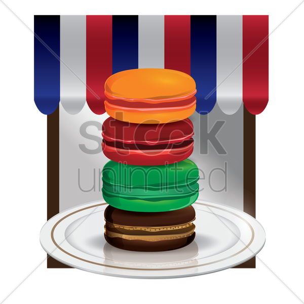 macarons in a plate vector graphic