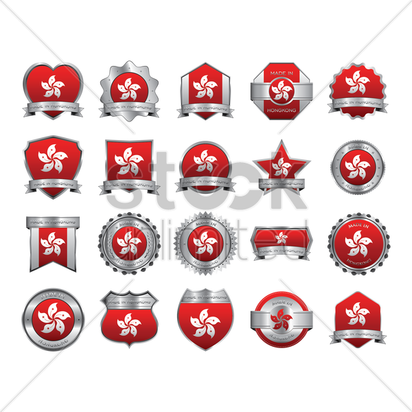 made in hong kong badges vector graphic