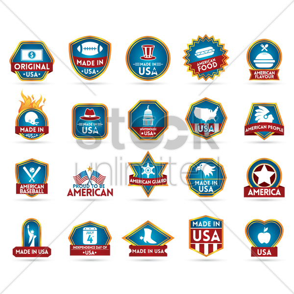 made in usa label collection vector graphic